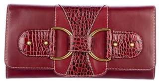 St. John Animal Embossed Leather Clutch