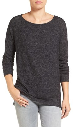 Petite Women's Gibson Cozy Fleece Ballet Neck High/low Pullover $48 thestylecure.com