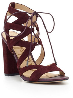 Sam Edelman Yardley Lace-Up Suede Block Heel Sandals $130 thestylecure.com