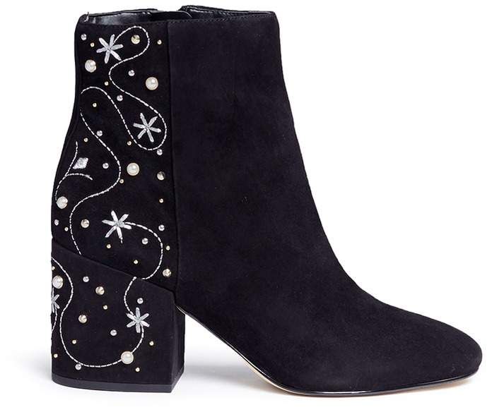 Sam Edelman 'Taft' embellished floral embroidered suede boots