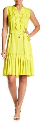VILONNA Sleeveless Patterned Ruffle Trim Dress