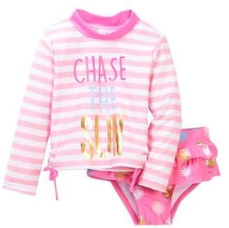 Wetsuit Club Chase the Sun Rashguard & Ruffle Bikini Bottom Swimsuit Set (Toddler Girls)