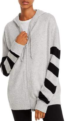 Minnie Rose Striped-Sleeve Cashmere Hoodie