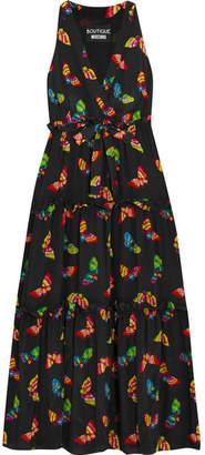 Boutique Moschino - Printed Silk Crepe De Chine Maxi Dress - Black $995 thestylecure.com