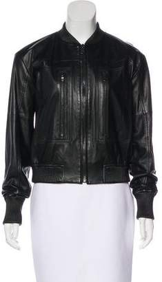 J Brand Knit-Trimmed Leather Jacket