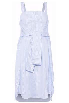Maison Margiela Tie-Front Striped Cotton-Poplin Dress