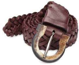 Salvatore Ferragamo Gancio Buckle Woven Leather Belt
