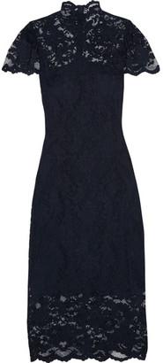 GANNI - Flynn Stretch-lace Turtleneck Dress - Midnight blue
