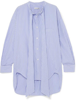 Balenciaga Swing Printed Striped Cotton-poplin Shirt - Blue