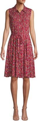 Nanette Lepore Nanette Pintucked Floral Belted Knee-Length Shirtdress