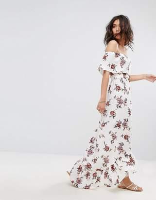 PrettyLittleThing Bardot Floral Print Maxi Dress $46 thestylecure.com