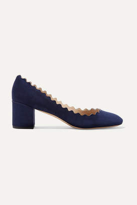 Chloé Lauren Scalloped Suede Pumps - Navy