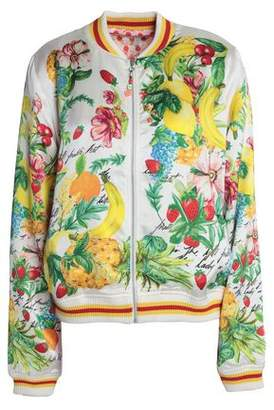 Camilla Printed Silk-Satin Bomber Jacket