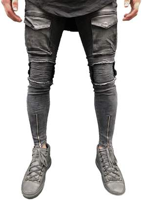 Moto XARAZA Men's Distressed Ripped Slim Fit Biker Jeans Skinny Zipper Denim Pants