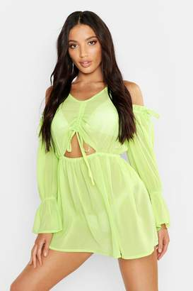boohoo Cold Shoulder Beach Dress