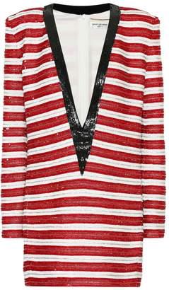 Saint Laurent Sequined silk minidress