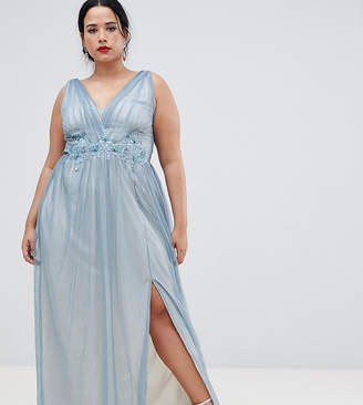 Little Mistress Plus Full Tulle Maxi Dress With Embroidery