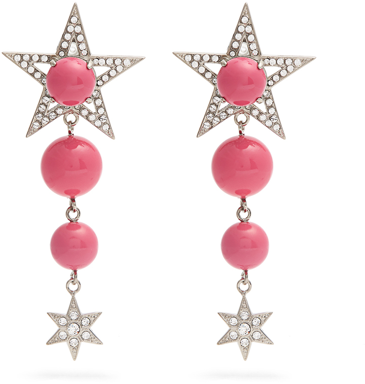 Miu Miu MIU MIU Star bead and crystal-embellished clip-on earrings