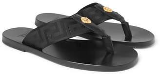 Versace Logo-Embellished Leather and Webbing Flip Flops - Men - Black