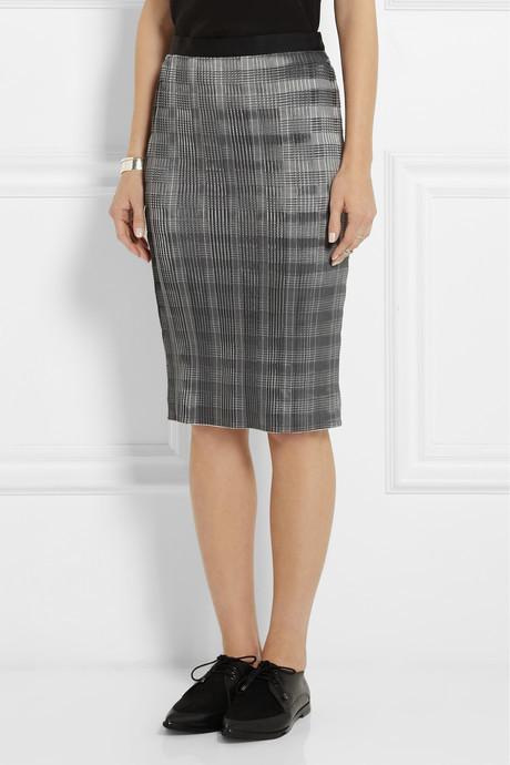 Alexander Wang Pinstriped plissé-satin pencil skirt