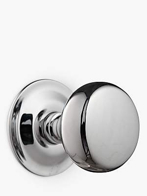 John Lewis Groove Stem Mortice Knobs, Polished Chrome, Pair, Dia.54mm