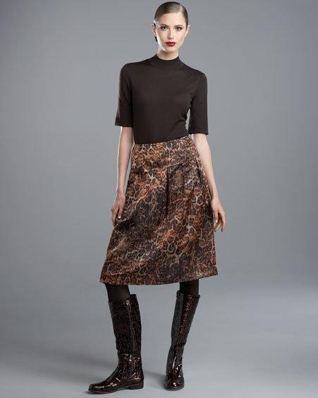 St. John Collection Leopard-Print Taffeta Skirt
