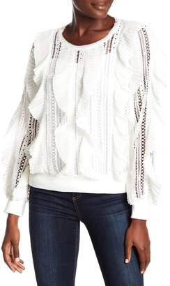 ALLISON NEW YORK Crochet Knit Ruffle Sweatshirt