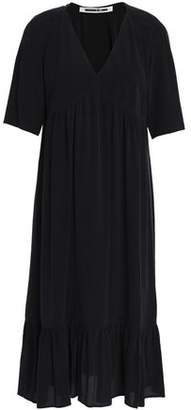 McQ Gathered Silk Crepe De Chine Dress