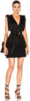 Mugler Satin & Technical Cady Belted Dress $1,300 thestylecure.com