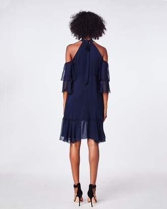 Nicole Miller Solid Silk Mock Neck Ruffle Dress