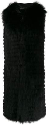 Simonetta Ravizza fur-trimmed sleeveless coat