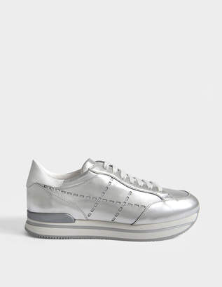 Hogan H222 Sneakers with Laser Cut Details in Silver Metallic Leather
