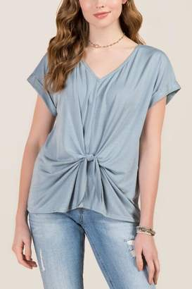 francesca's Ellie Knot Front Cuff Sleeve Cupro Top - Teal