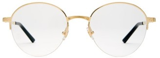 Cartier Eyewear - Santos De Round Frame Glasses - Mens - Gold