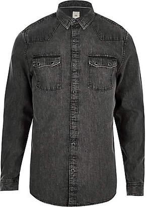 River Island Grey acid wash long sleeve denim shirt