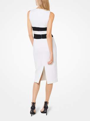 Michael Kors Contrast Stretch Boucle-Crepe Sheath Dress