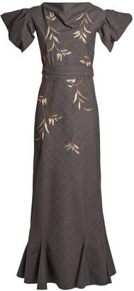 ATTICO Isabel leaf-embroidered checked cotton-blend dress