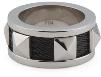 Sterling Silver And Black Pvd Stainless Steel Cable Ring