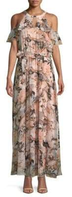 Calvin Klein Floral Cold-Shoulder Maxi Dress