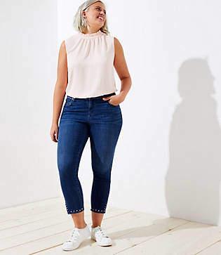 LOFT Plus Studded Cuff Skinny Jeans in Rich Dark Indigo Wash