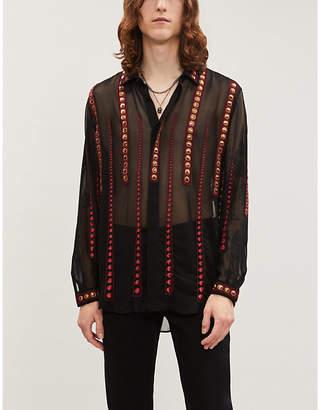 Saint Laurent Embroidered woven shirt