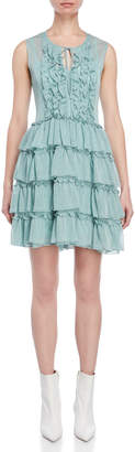 Atos Lombardini Aqua Shimmer Tiered Ruffle Dress