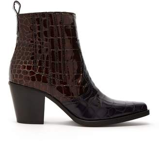 Callie Crocodile Effect Patent Leather Ankle Boots - Womens - Burgundy Navy
