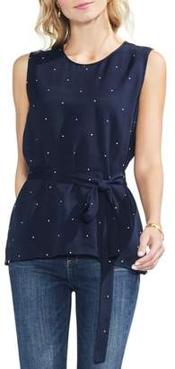 Vince Camuto Soho Pin Dot Tie Belt Sleeveless Blouse