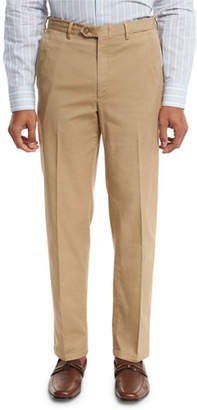 Brioni Washed Flat-Front Trousers, Khaki
