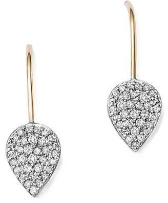 Adina Sterling Silver and 14K Yellow Gold Pavé Diamond Teardrop Earrings