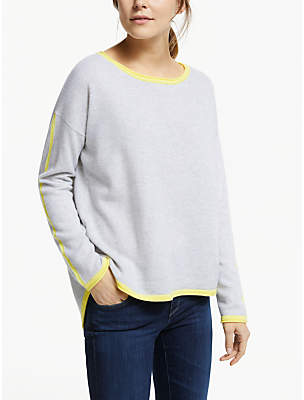 Cocoa Cashmere Split Back Hem Jumper, Cloud/Lemon