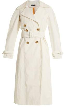 Anna October - Double Breasted Coated Linen Blend Trench Coat - Womens - White