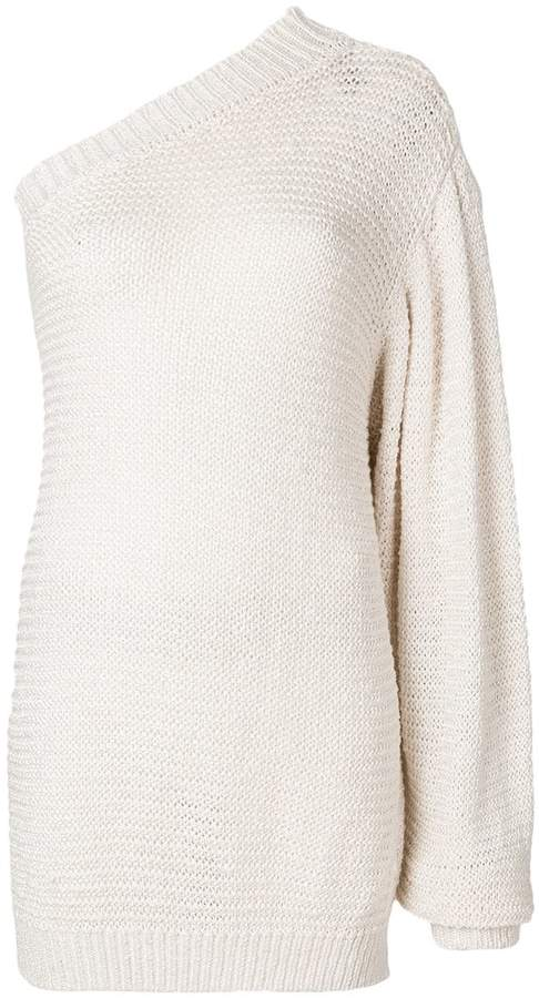 one-shoulder knitted top