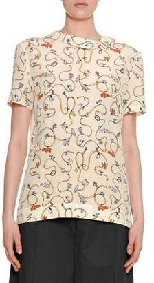 Marni Ribbon & Charm Short-Sleeve Asymmetric-Collar Silk Blouse
